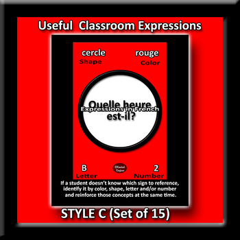 Useful French Expressions for Class Posters - Style C