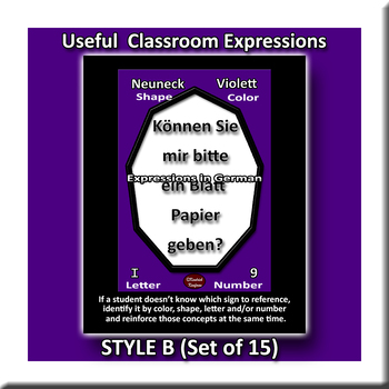 Useful German Expressions for Class Posters - Style B
