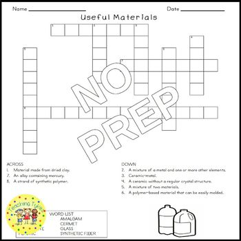Useful Materials Science Crossword Puzzle Coloring Worksheet Middle School