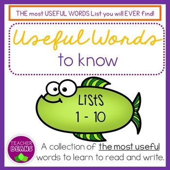 Useful Words To Know Lists 1 to 10