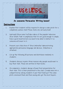 Useless- the best persuasive writing lesson you will ever teach!