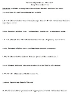 """User-Friendly"" by T. Ernesto Bethancourt - 10 Comprehension Questions w/ Key"