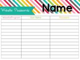 User Name/Password Sheet - EDITABLE