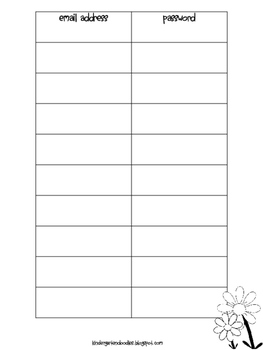 Username & Password Binder Freebie