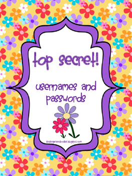 Username & Password Binder Freebie