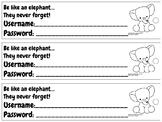 Username & Password Bookmark - baby elephant