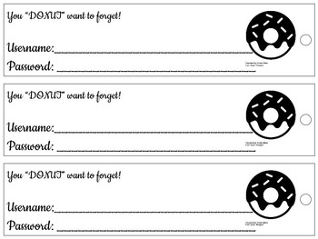Username & Password Bookmark - doughnut