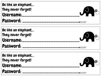 Username & Password Bookmark - elephant