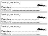 Username & Password Bookmark - fast cars