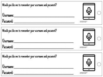 Username & Password Bookmark - tablet