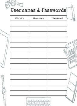 Username & Password Organizer