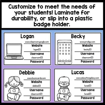 Username and Password Cards Editable! {8 Designs} {Editable Student Login Cards}