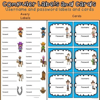 Computer Username and Password Student Cards (western theme) Editable