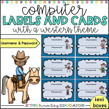 Computer Username and Password Student Cards (western them