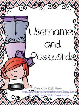 Usernames and Passwords Freebie