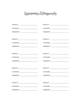 Usernames and Passwords Printable