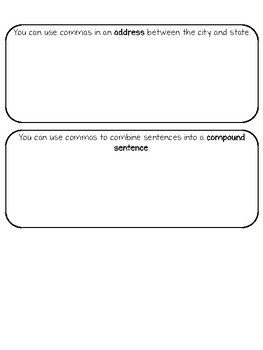 Uses for Commas Graphic Organizer