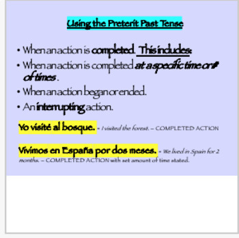 Uses of the Preterit and Imperfect in Spanish