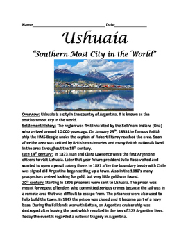 Ushuaia - Southern Most city in world Argentina - lesson questions facts