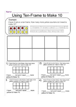 Using 10 Frame to Make 10 - Worksheet