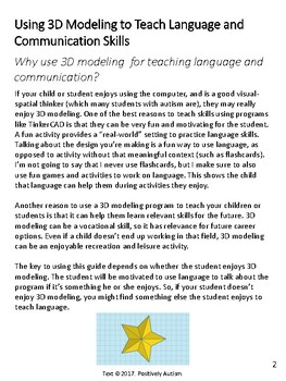 Using 3D Modeling to Teach Language and Communication Skills for Autism
