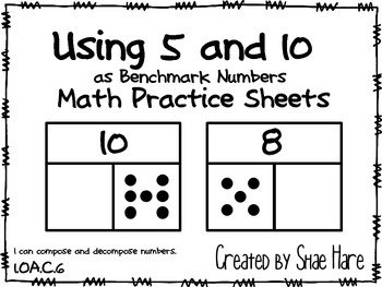 Using 5 and 10 as Benchmark Number Part Part Whole Missing Work Station Sheets