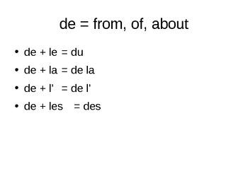 Using A/au/aux and de/du/des Slideshow