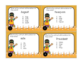 Using Abbreviations for Days, Months, Places, Titles and Measurement Task Cards