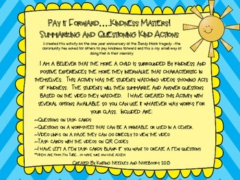 Using Acts of Kindness Videos as a tool to summarize and question