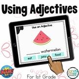 Digital Adjectives Boom Cards 1st Grade Grammar Practice Game  Literacy Centers