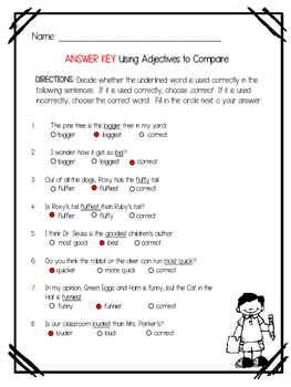 Using Adjectives to Compare Suffix er and est  Affix Practice or Assessment