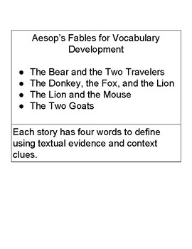 Using Aesop's Fables for Vocabulary Development