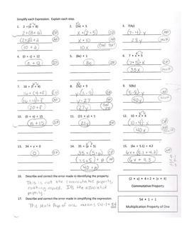 Using Algebraic Properties to Simplify Expressions Practice Worksheet