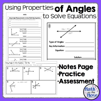 Using Angle Properties to Solve Equations - Notes and Practice