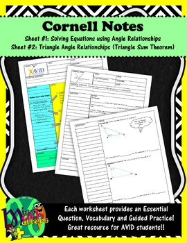 Using Angle & Triangle Relationships to Solve Equations | Cornell Notes