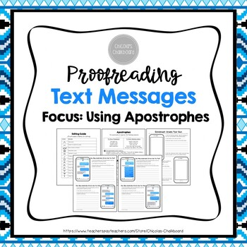 Using Apostrophes - A Proofreading Text Messages Activity