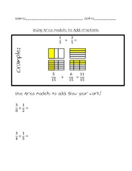 Using Area Models to Add Fractions with Unlike Denominators