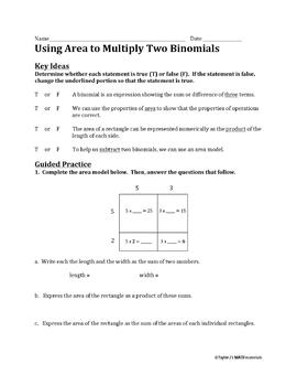Using Area to Multiply Two Binomials Worksheet