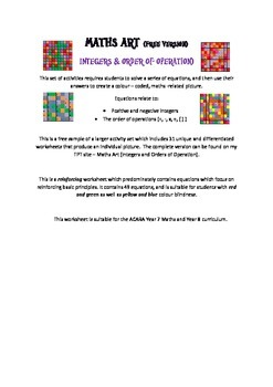 Using Art to Teach Integers and Orders of Operation (free sample)
