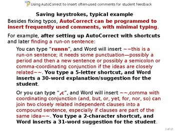 Using Autocorrect to efficiently insert often-used comments for student feedback