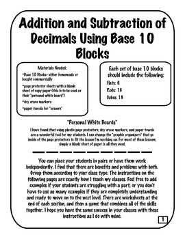 using base 10 blocks to add subtract compare and order decimals. Black Bedroom Furniture Sets. Home Design Ideas