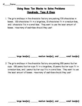 Using Base Ten Blocks to Solve Problems - Hundreds, Tens & Ones