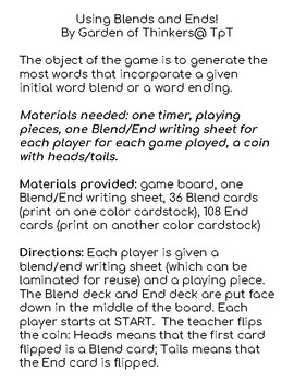 Using Blends and Ends! Game
