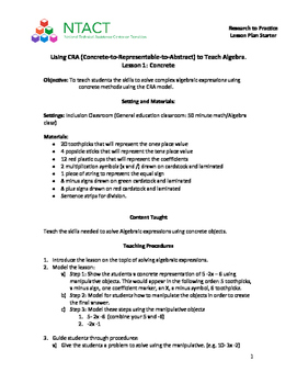 Using CRA to Teach Algebra Lesson 1