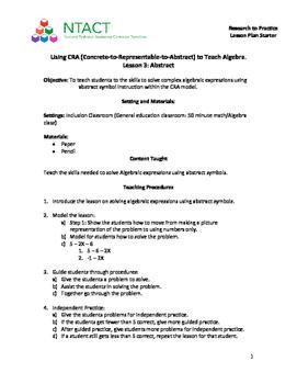 Using CRA to teach Algebra Lesson 3