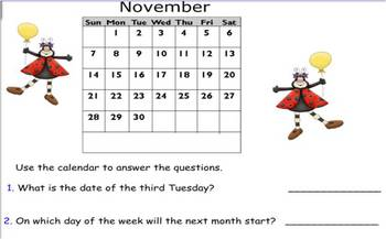 Using Calendars SmartBoard file 51 pages