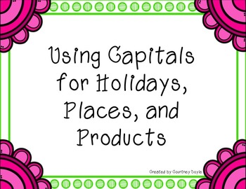 Using Capital Letters in Places, Products, and Holidays