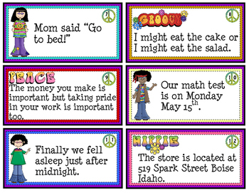 Commas Game - 60 Task Cards /  Answer Keys / Game Board / Wall Chart