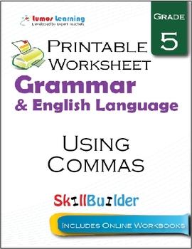 Using Commas Printable Worksheet, Grade 5