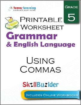 Using Commas Printable Worksheet, Grade 5